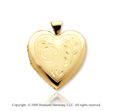 14k Yellow Gold Elegant Four Fold Heart Locket