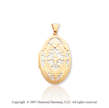 14k Yellow Gold Vintage Style Four Fold Oval Locket