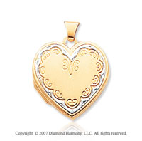 14k Yellow Gold Elegance Four Fold Heart Locket