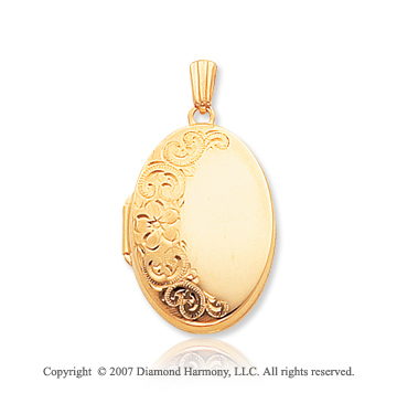 14k Yellow Gold Grand Elegance Carved Oval Locket