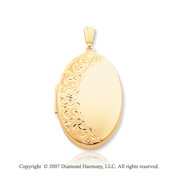 14k Yellow Gold Grandeur Polished Oval Locket