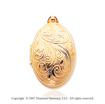 14k Yellow Gold Domed Embossed Oval Locket
