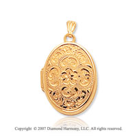 14k Yellow Gold Elegant Vintage Floral Oval Locket