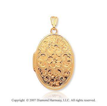 14k Yellow Gold Stylish Vintage Floral Oval Locket