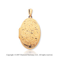 14k Yellow Gold Vintage Design Floral Oval Locket