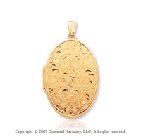 14k Yellow Gold Vintage Style Floral Oval Locket