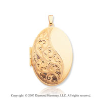 14k Yellow Gold Classic Design Oval Locket