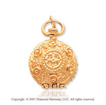 14k Yellow Gold Elegant Pocket Watch Style Round Locket
