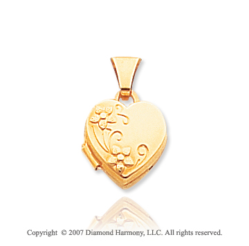 14k Yellow Gold Great Floral Heart Locket