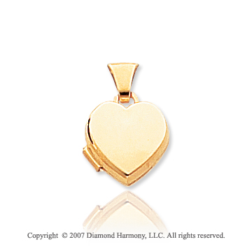 14k Yellow Gold Plain Polished Heart Locket