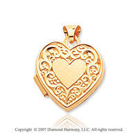 14k Yellow Gold Vintage Style Heart Locket