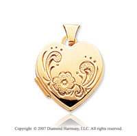 14k Yellow Gold Stylish Flower Heart Locket