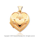 14k Yellow Gold Claddagh Heart Locket
