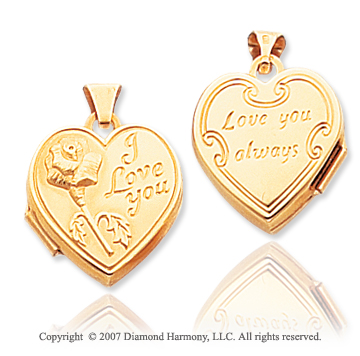 14k Yellow Gold I Love You Heart Locket