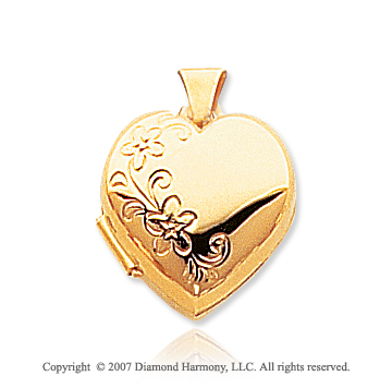 14k Yellow Gold Domed Floral Heart Locket