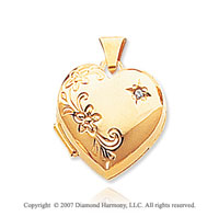 Diamond 14k Yellow Gold Stylish Floral Heart Locket