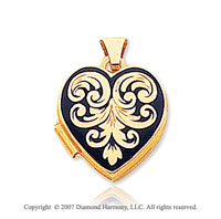14k Yellow Gold Enameled Heart Locket