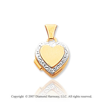 14k Yellow Gold Rhodium Accent Heart Locket