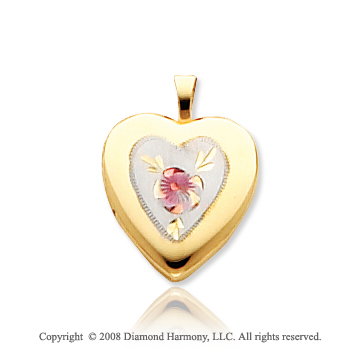14k Yellow Gold Carved Enameled Floral Heart Locket