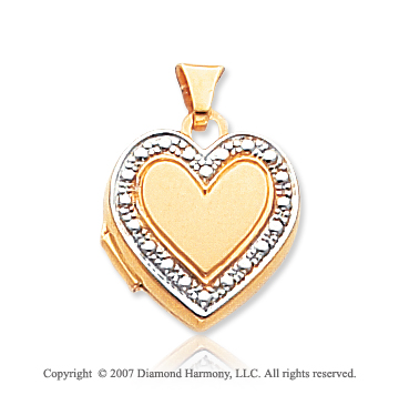 14k Yellow Gold Elegant Accent Heart Locket