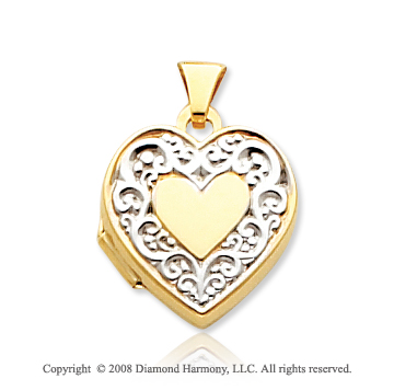14k Yellow Gold Rhodium Grand Elegance Heart Locket