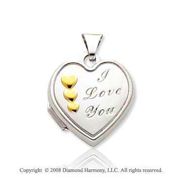14k Two Tone Gold I Love You Heart Locket