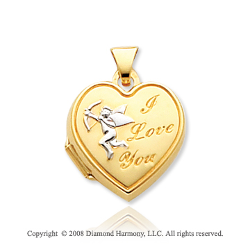 14k Yellow Gold I Love You Cupid Heart Locket