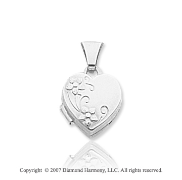 14k White Gold Floral Polished Heart Locket