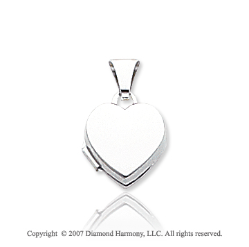 14k White Gold Smooth Plain Polished Heart Locket