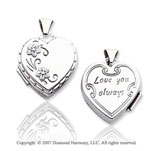 14k White Gold Love You Always Floral Heart Locket