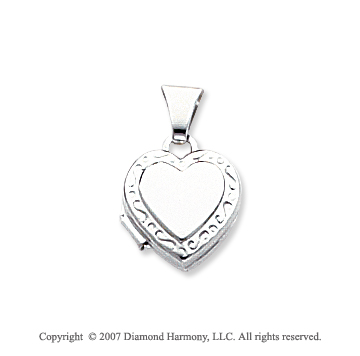 14k White Gold Elegant Polished Heart Locket