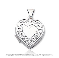 14k White Gold Elegant Carved Heart Locket