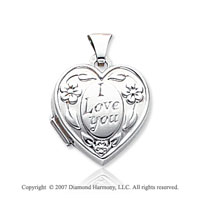 14k White Gold I Love You Floral Heart Locket