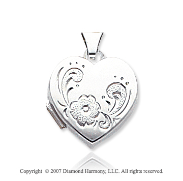 14k White Gold Stylish Floral Heart Locket