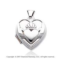 14k White Gold Claddagh Heart Locket