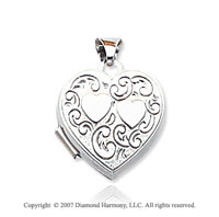 14k White Gold Stylish Carved Hearts Locket
