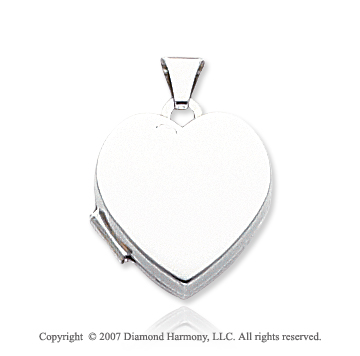 14k White Gold Plain Polished Heart Locket