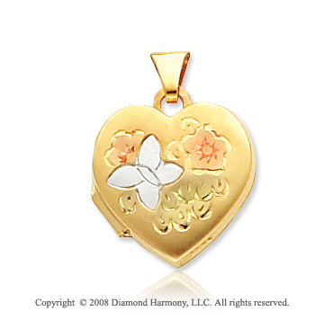 14k Yellow Gold Butterfly & Flowers Heart Locket