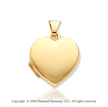 14k Yellow Gold Plain Elegance Heart Locket