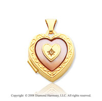 Diamond Mother of Pearl 14k Yellow Gold Pink Heart Locket