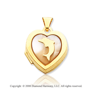 Mother of Pearl 14k Yellow Gold Dolphin Heart Locket