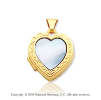 Mother of Pearl 14k Yellow Gold Blue Heart Locket
