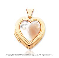 Mother of Pearl 14k Yellow Gold Stylish Heart Locket