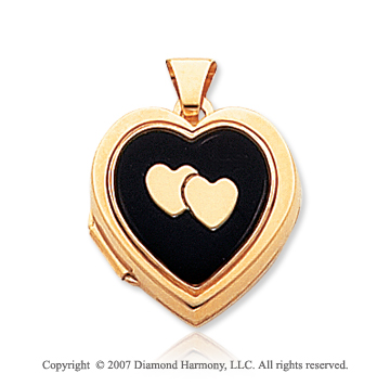 14k Yellow Gold Onyx Cameo Hearts Locket