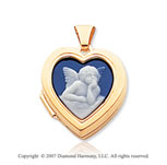 14k Yellow Gold Angel Cameo Heart Locket