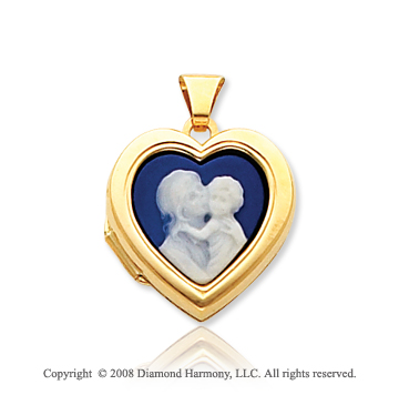 14k Yellow Gold Parent and Child Cameo Heart Locket