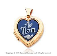 14k Yellow Gold No. 1 Mom Cameo Heart Locket