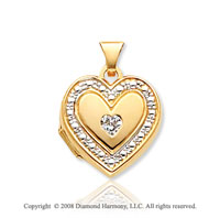 14k Yellow Gold Elegant CZ Heart Locket