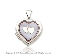 Mother of Pearl 14k White Gold Pink Hearts Locket