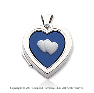 14k White Gold Blue Cameo Hearts Locket